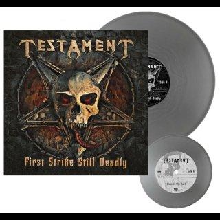 "TESTAMENT- First Strike Is Deadly LIM. 300 SILVER VINYL +7"""